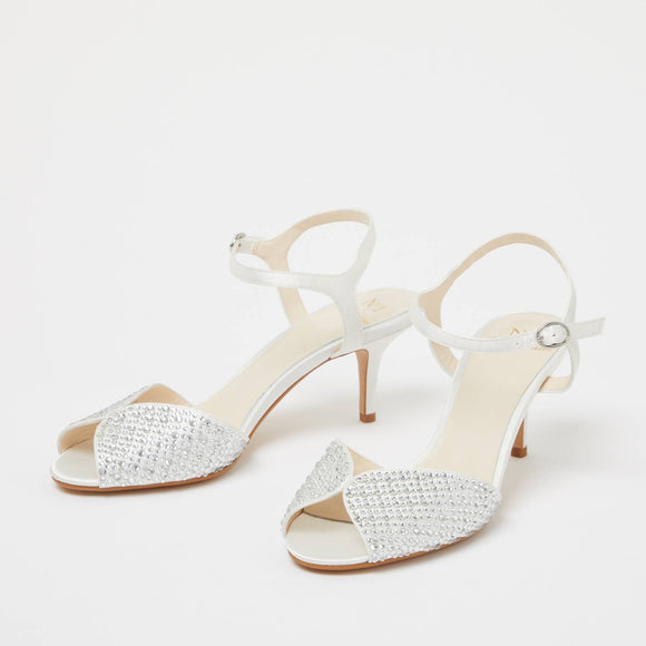 Ivory Diamante Crystal Embellished Low Heel