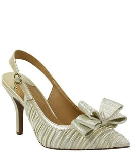 J. Renee Charise Bow Pointed Toe Champagne Slingback Pump