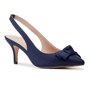 Paradox london Kaila Navy Low Heel Slingback With Knot Detail