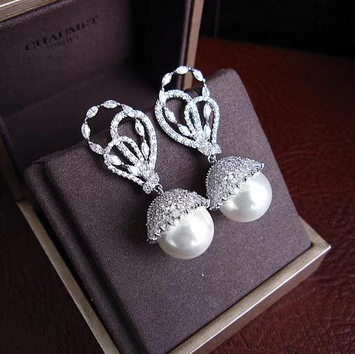 Luxury Bridal Cubic Zirconia Pearl Earring - Bhe Accessories