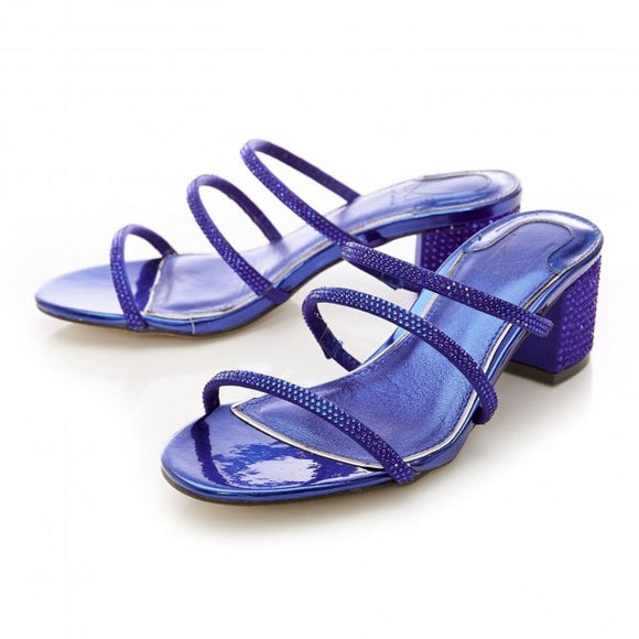 Moda Pelle Rosel Cobalt Blue Embellished Slippers - Bhe Accessories