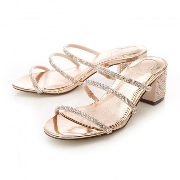 Moda Pelle Rosel Rose Gold Embellished Block Heel Slippers - Bhe Accessories
