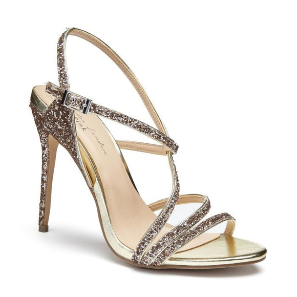 Pink by Paradox Saffie Champagne Glitter High Heel Strappy Sandal - Bhe Accessories
