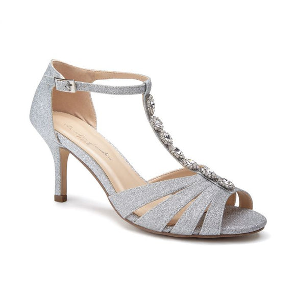Paradox London Sibel Silver Low Heel Crystal T-Bar Sandal