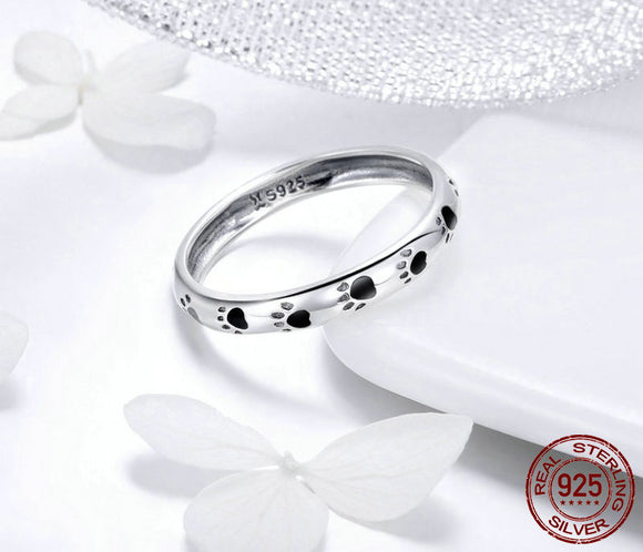 Teeny Tiny Paws Stackable Ring – 925 Sterling Silver