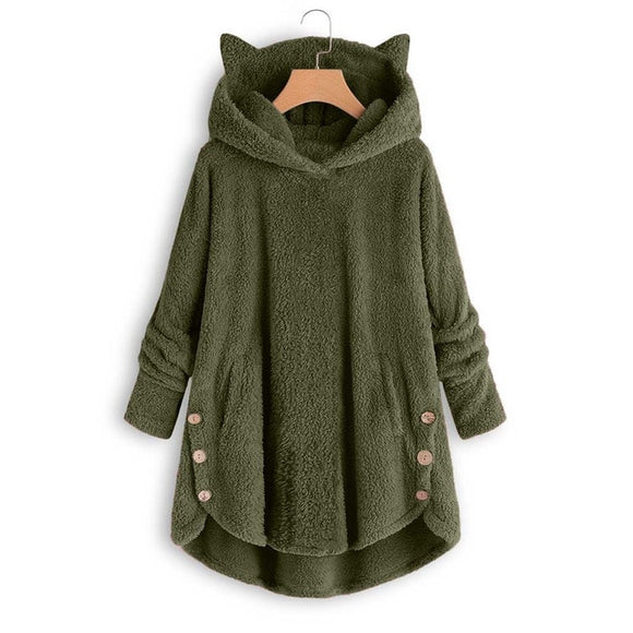 Cat Ear Fleece Hooded Pullover Sweatshirt for Women
