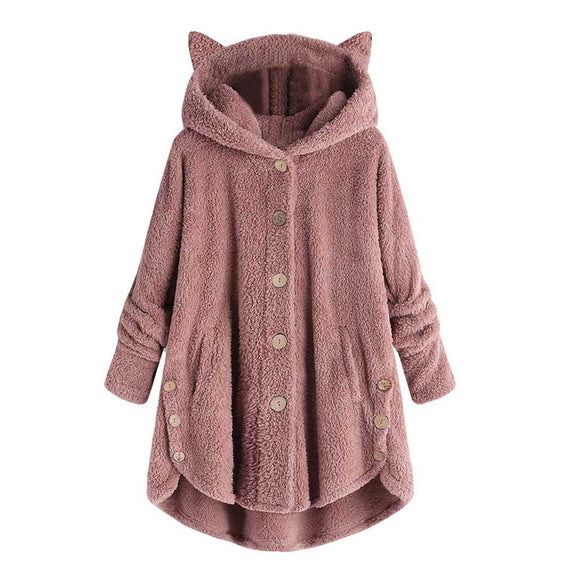 Cat Ear Fleece Hooded Button-Down Sweatshirt for Women