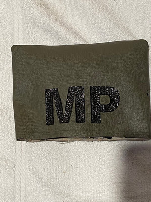 VINTAGE ARMY MILITARY POLICE WW2 ARM BANDS & HOLDER, AIRBORNE