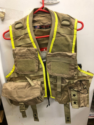 Vis-Tac Military Style Zipper LBV Load Bearing Vest w/ MOLLE Pouches Brown VGC