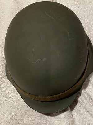 GERMAN WWII MILITARY COMBAT HELMET WITH LINER AND CHINSTRAP