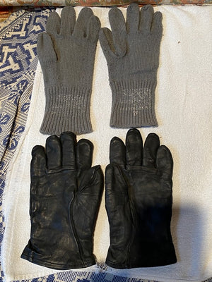 Set Original US Army Leather Gloves Gloves Glove Shell Leather M-1949 WWII