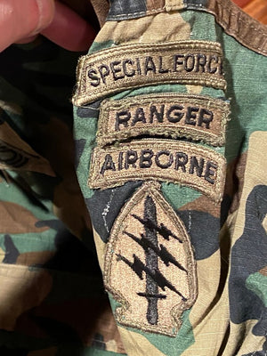 US Army Top Coat Airborne Ranger SPECIAL FORCES Woodland Camo Large REGULAR