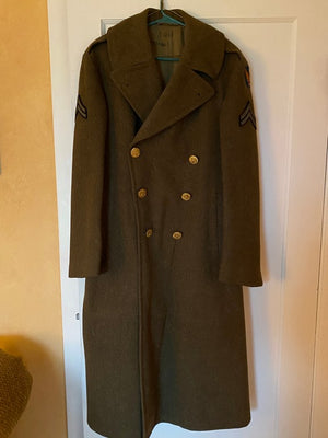 WWII U.S. Army Air Force Corporal Military Officer's Long Wool Olive Jacket Coat