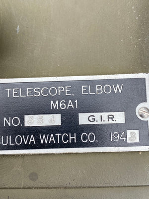 1943 WW2 US ARMY M6A1 TANK BULOVA WATCH CO. ARTILLERY ELBOW TELESCOPE,SCOPE