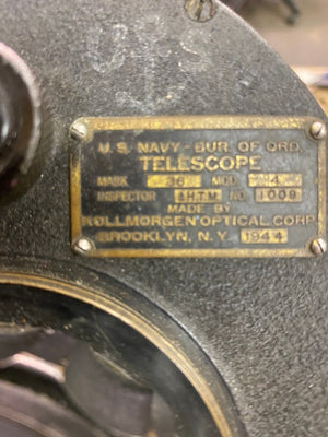 USN WW2 1944 BUREAU OF ORD. KOLLMORGAN OPTCIAL CORP. TELESCOPE MARK 36 Mod. 4