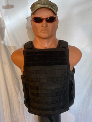 MILITARY ISSUE BLACK PLATE CARRIER W/3A SOFT ARMOR INCLUDED NSN# 8470-01-621-9887