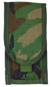 US MILITARY MOLLE II WOODLAND GREEN M-4 DOUBLE MAGAZINE POUCH