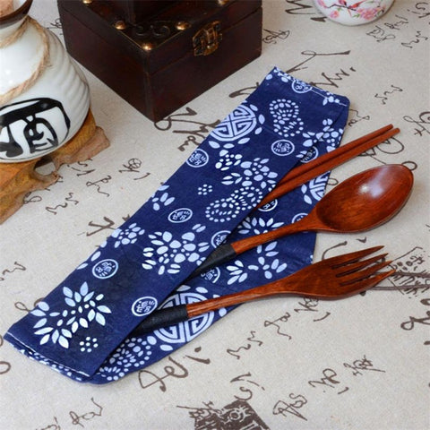 3 pcs Japanese Wooden Cutlery Set