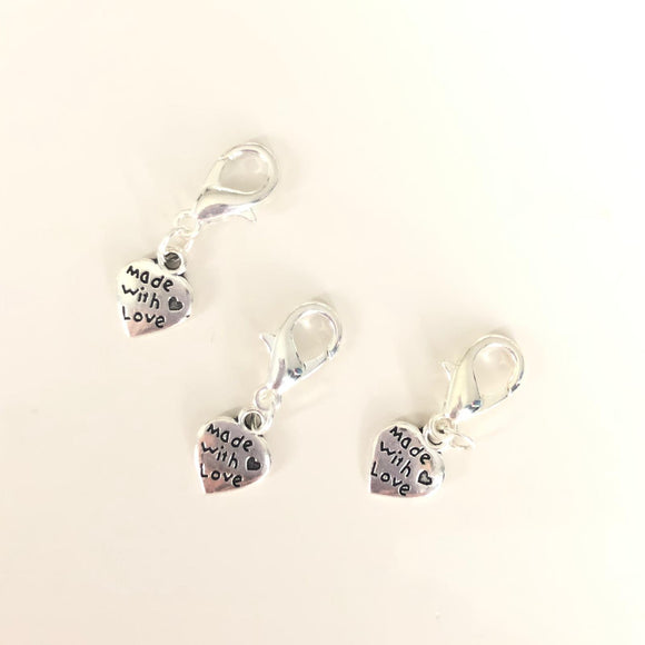 Made With Love Progress Keeper / Stitch Marker - Set of 3