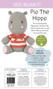 Crochet Amigurumi Kit - Pio The Hippo