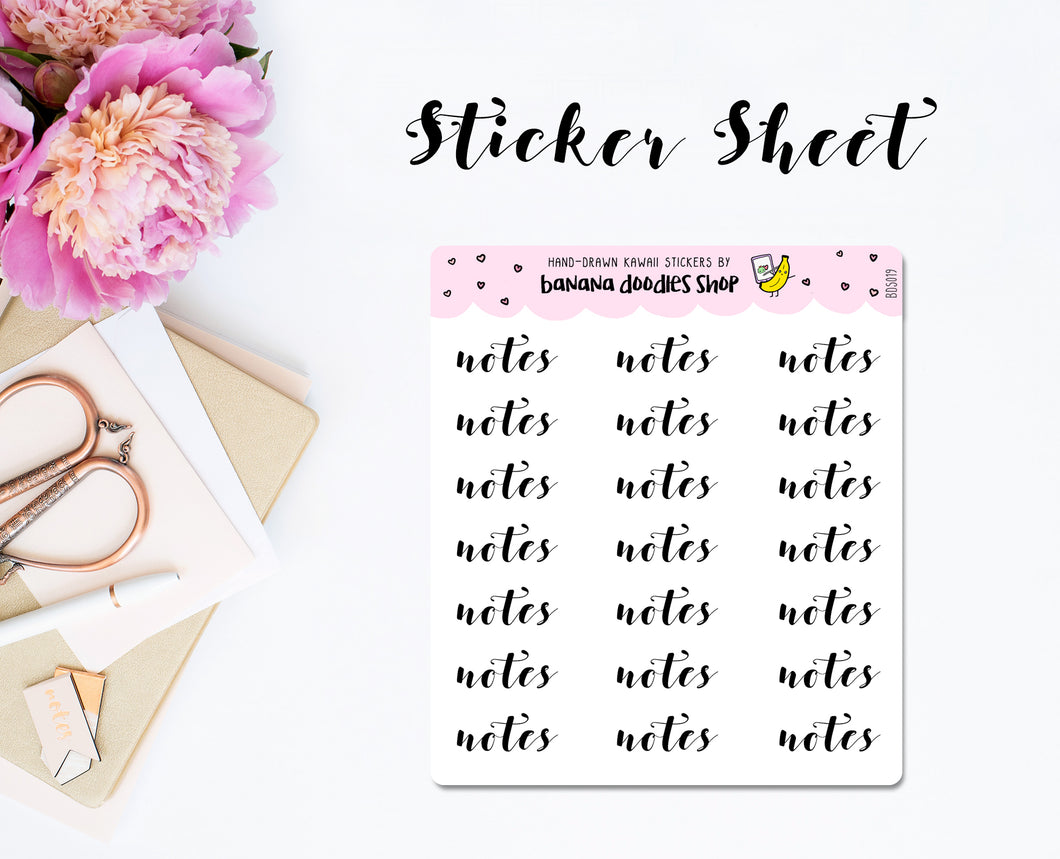 Script: Notes Stickers