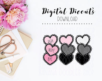 Digital Diecuts - Stacked Hearts Sassy Sayings