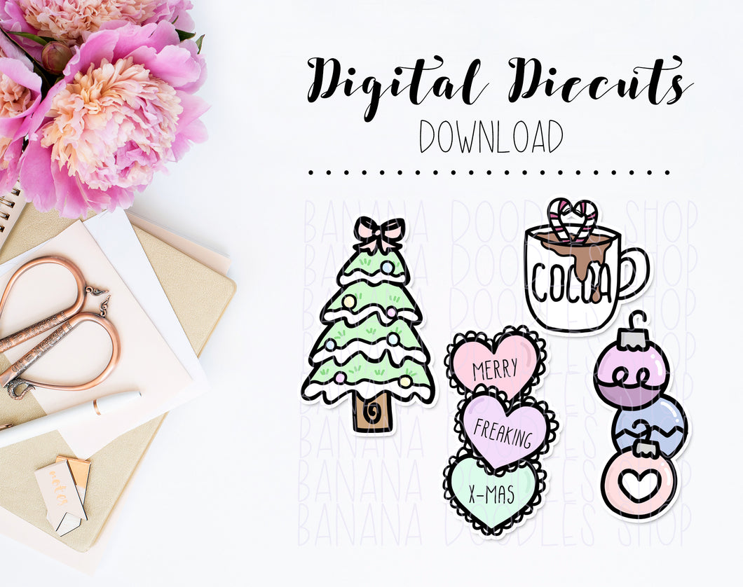Digital Diecuts - Pastel Christmas Assorted Set (4 Pieces)