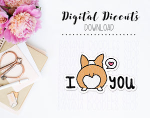 Digital Diecut - Corgi Dog Booty I Love You