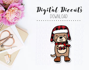 Digital Diecut - Nellie in Buffalo Plaid Winter Outfit