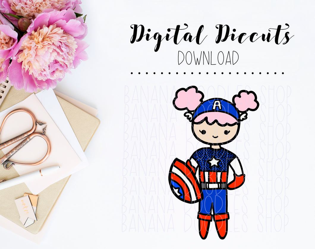 Digital Diecut - Lola as Captain America
