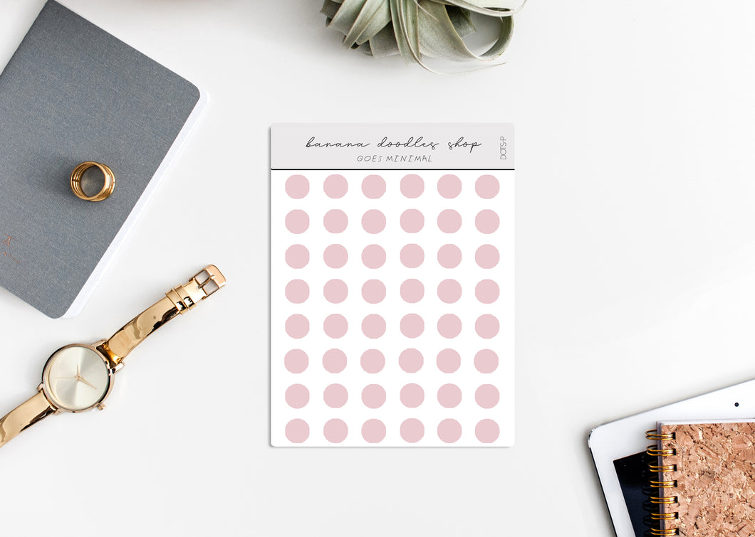 Minimalistic Transparent Dot Stickers (2 Sizes Available) - PINK