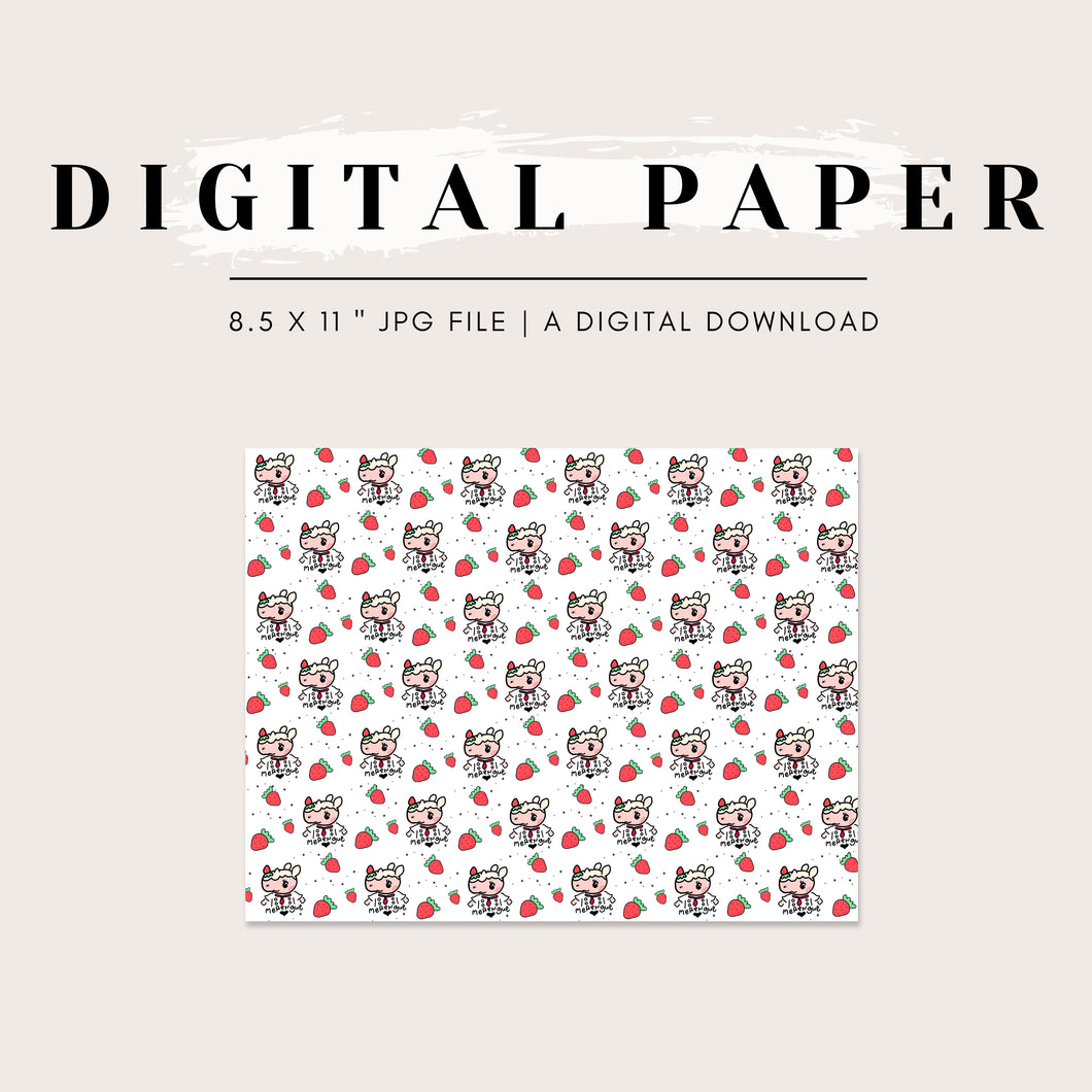 Digital Paper - ACNH Sweet Strawberry Merengue