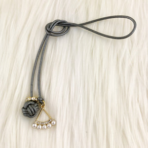 Monkey Fist Knot Leather Bookmark with Geometric Pearl Charm