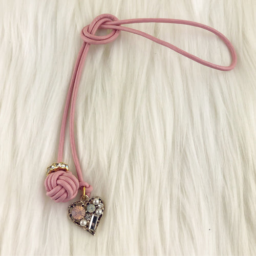 Monkey Fist Knot Leather Bookmark with Crystal Heart Charm