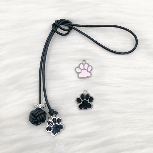 Monkey Fist Knot Leather Bookmark with Enamel Paw Charm