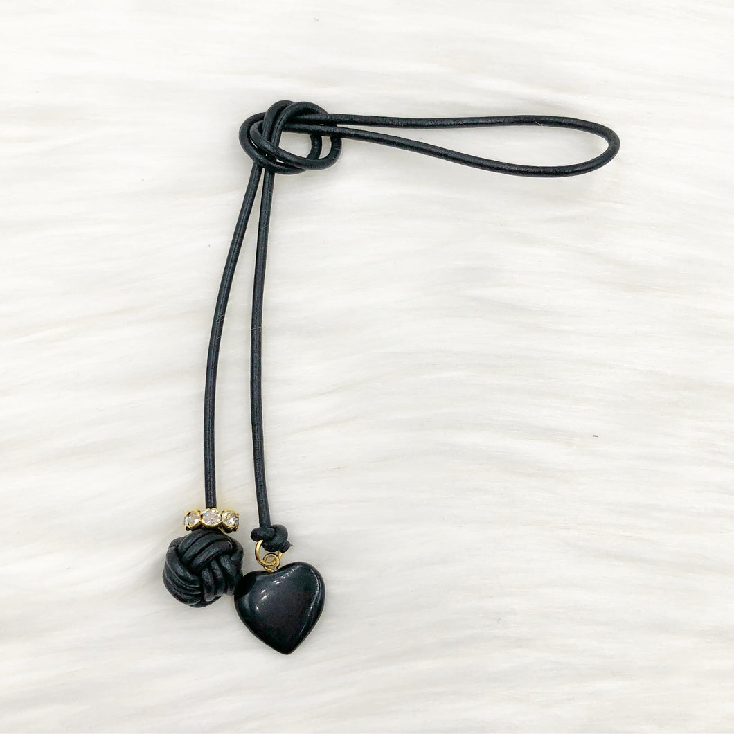 Monkey Fist Knot Leather Bookmark with Blackstone Charm