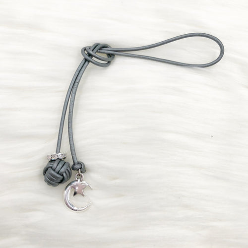 Monkey Fist Knot Leather Bookmark with Silver Moon and Star Charms