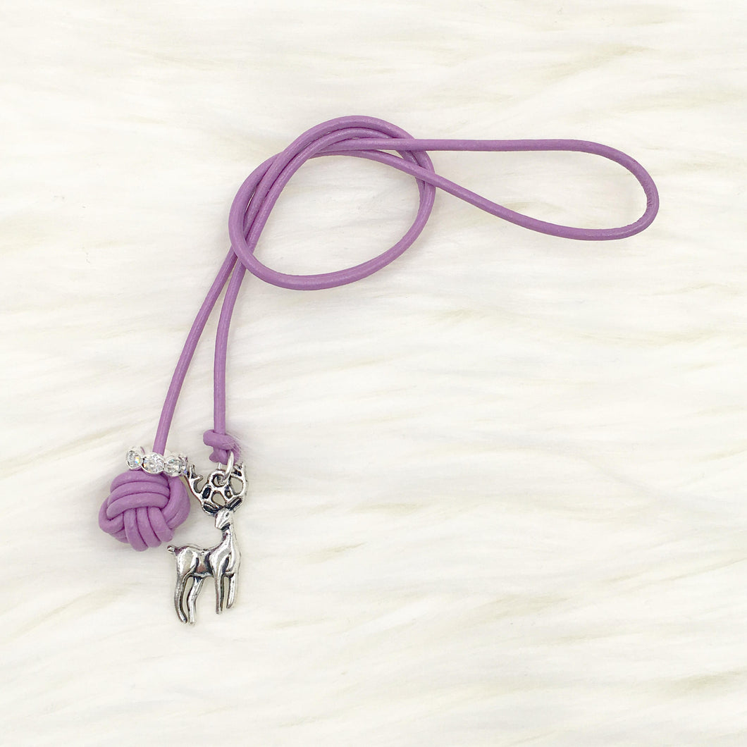 Monkey Fist Knot Leather Bookmark with Silver Deer Charm