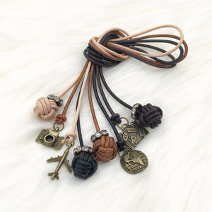 Monkey Fist Knot Leather Bookmark with Travel Charm for Traveler's Notebook, Planner, or Book