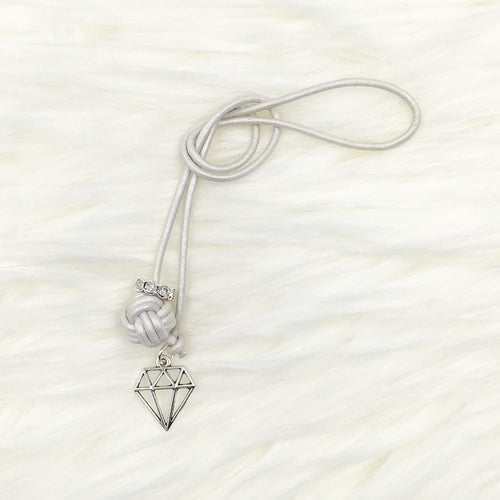 Monkey Fist Knot Leather Bookmark with Silver Diamond Charm