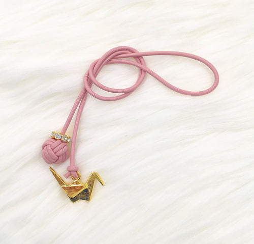 Monkey Fist Knot Leather Bookmark with Gold Crane Charm
