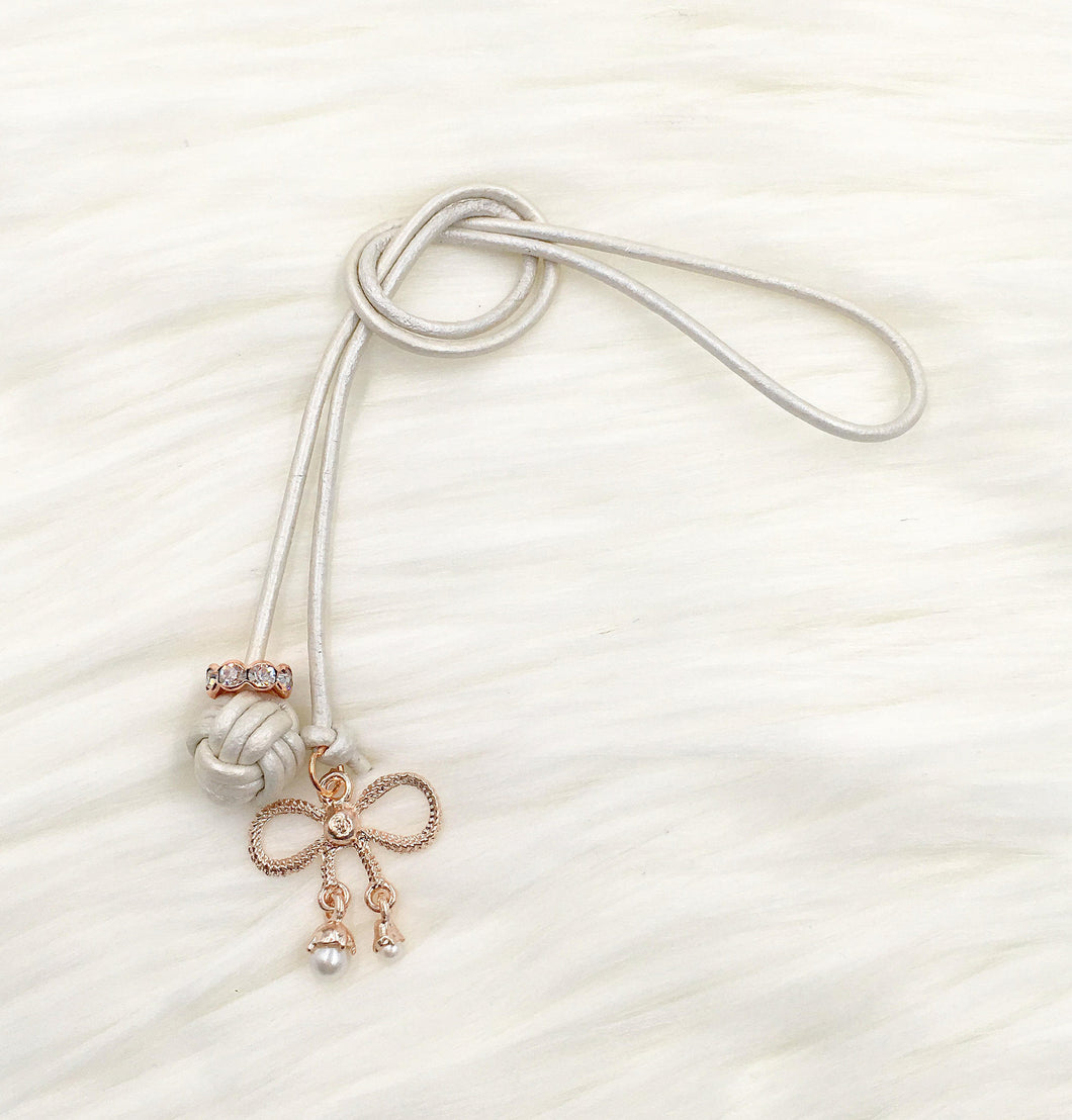 Monkey Fist Knot Leather Bookmark with Rose Gold Bow Charm