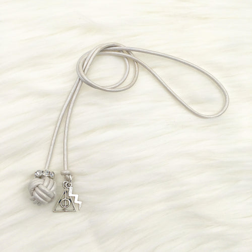 Monkey Fist Knot Leather Bookmark with HP Charms