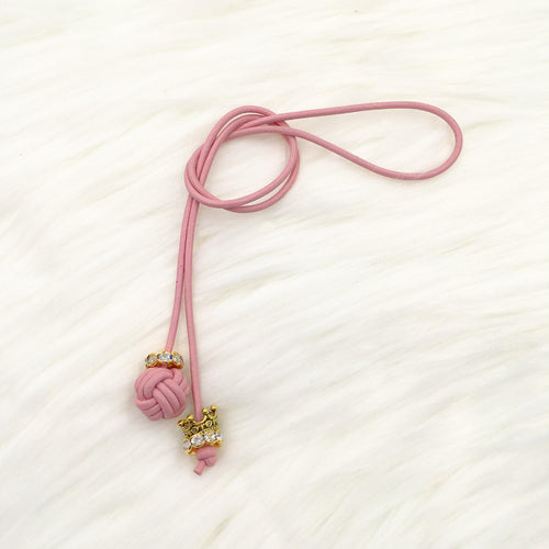 Monkey Fist Knot Leather Bookmark with Gold Queen Crown Charm