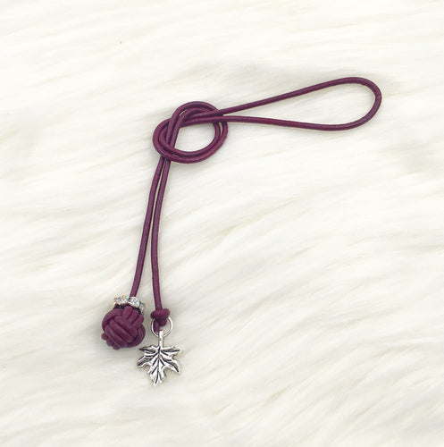 Monkey Fist Knot Leather Bookmark with Silver Leaf Charm
