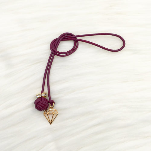 Monkey Fist Knot Leather Bookmark with Gold Diamond Charm