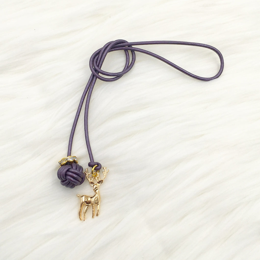 Monkey Fist Knot Leather Bookmark with Gold Deer Charm