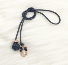 Monkey Fist Knot Leather Bookmark with Rose Gold Black Bow and Pearl Charm