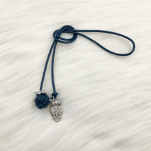 Monkey Fist Knot Leather Bookmark with Silver Rhinestone Owl Charm