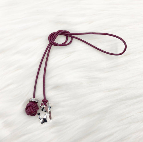Monkey Fist Knot Leather Bookmark with Silver Fox Charm